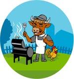 Cocinero Rooster Caricature de Cow Minister Barbecue del clero Ilustración del Vector