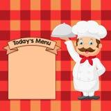Cocinero Serving Food In de la historieta un disco de la astilla Imágenes de archivo libres de regalías