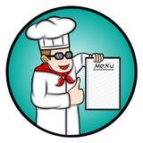 Cocinero Showing un libro del menú Fotos de archivo