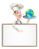 Cocinero Sign del globo del mundo Fotografía de archivo
