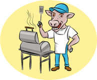 Cocinero Smoker Oval Cartoon de la barbacoa de la vaca Imagenes de archivo