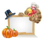 Cocinero Turkey Thanksgiving Sign Foto de archivo