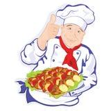Cocinero y barbacoa deliciosa Fotografía de archivo