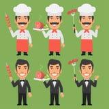 Cocinero y camarero Holding Meat Dishes Imagen de archivo