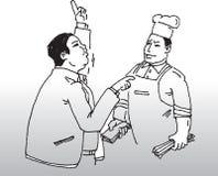 Cocinero y cliente Imagenes de archivo