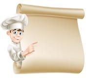 Cocinero y menú de la historieta