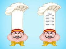 Cocinero y menú españoles en el sombrero con la comida de España Fotografía de archivo