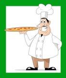 Cocinero y pizza   Fotografía de archivo
