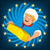 Cocinero y queso divertidos de la lechería stock de ilustración