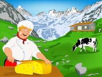 Cocinero y queso suizo natural de la lechería ilustración del vector