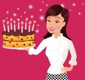 Cocinero y torta de cumpleaños Ilustración del Vector