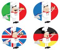 Cocineros con los platos Imagen de archivo libre de regalías