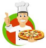 Cocineros el cocinar de la historieta, celebrando la bandeja con la pizza Fotografía de archivo