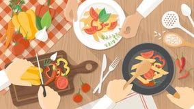 Cocineros en el trabajo en la cocina stock de ilustración