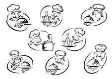 Cocineros en tocas con las bandejas de la porción libre illustration
