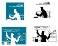 Cocineros que cocinan en la cocina ilustración del vector