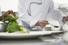 Cocineros que preparan la ensalada Imagen de archivo libre de regalías