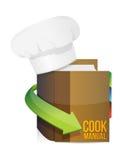 Cocineros sombrero y manual del libro del cocinero ilustración del vector