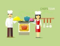 Cocineros Team People Group Flat Style ilustración del vector