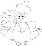 Cock. An illustration featuring a black and white outline of a cartoon cock Royalty Free Stock Photos