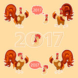 big set. Cartoon style. Rooster set vector illustration, . Royalty Free Stock Image