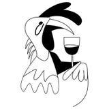 Cock bird drinking wine Stock Photo