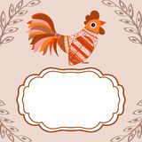 Cock bird ethnic pattern text box. Cock bird ethnic pattern. Symbol 2017. New year. Fair and celebration. Fabulous animal.text box Royalty Free Stock Images