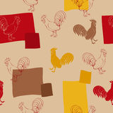 bird red beige brown yellow seamless pattern illustration Stock Images