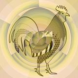 Cock, black drawing on abstract beige background resembling a misty morning sun, symbol of chinese horoscope, year of the rooster Royalty Free Stock Images