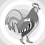 Cock, black and white drawing. Hatched picture of majestic rooster on concentric circle patterned gray background. Royalty Free Stock Image