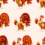 cartoon pattern. Funny rooster pattern. Stock Image