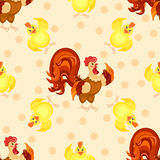cartoon pattern. Funny rooster pattern. Royalty Free Stock Images