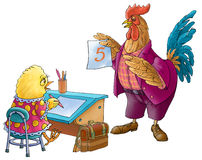 The cock and chicken at school. The cock - the teacher, a chicken - the pupil. Comic illustration Stock Images