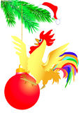 Cock on christmas ball Stock Image