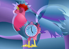 Cock with clock Royalty Free Stock Photo