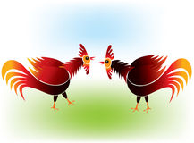 Cock fighting. On light background Stock Photo