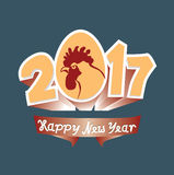 Cock and 2017 figures. New Year greeting. Rooster is a zodiac symbol of 2017 year by eastern calendar. vector illustration Retro style Stock Photography