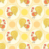funny cartoon pattern. Rooster pattern. Stock Images