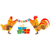 Cock hangs a garland. In vector format eps10 Stock Images
