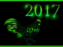 Cock. Happy new year 2017. Vector eps 10. Rooster new year greeting card, 2017 new year symbol cock or rooster Stock Photography