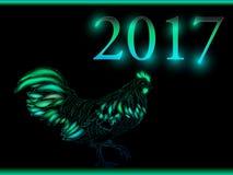 Cock. Happy new year 2017. Vector eps 10. Stock Photo
