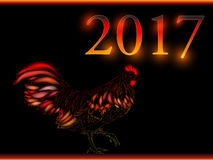 Cock. Happy new year 2017. Vector eps 10. Rooster new year greeting card, 2017 new year symbol cock or rooster Royalty Free Stock Photos