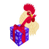 Cock head with gift box. Rooster bird opens presents. Vector illustration of rooster, symbol of 2017 on the Chinese calendar. Isolated on white background Royalty Free Stock Image