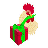 Cock head with gift box. Rooster bird opens presents. Vector illustration of rooster, symbol of 2017 on the Chinese calendar. Isolated on white background Stock Images