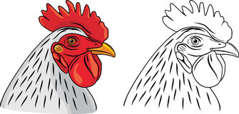 Cock head. The sample for coloring. Illustration Royalty Free Stock Photos