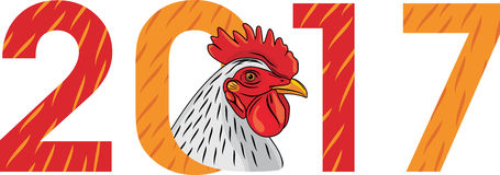 Cock head. The symbol for the calendar. Illustration Stock Images