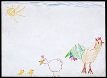 Cock and Hen and Two Chickens. Child's Drawing. Royalty Free Stock Images