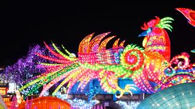 Cock Lantern in Zigong, China. Lanterns, also known as flower lanterns, is a popular traditional Chinese folk arts and crafts as New Year celebration. Zigong Stock Photo