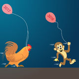 Cock with monkey set. Vector illustration. new Year 2017. New year, past year, 2017, 2016, cock, monkey Royalty Free Stock Photos