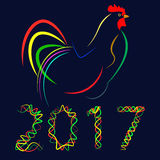 New year 2017 merry christmas vector. 2017, new year, cock, merry christmas, colorful, celebration, decoration, christmas, entertainment, traditional, graphic Royalty Free Illustration
